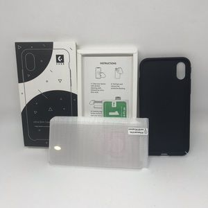 Accessories - iPhone X black phone case and screen protector